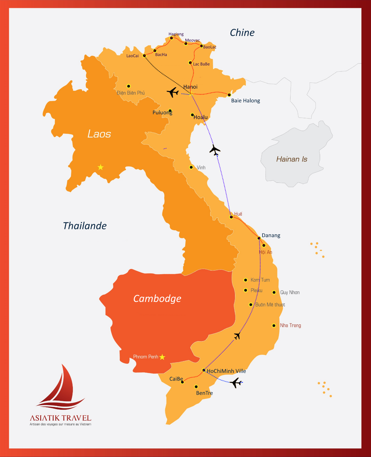 Carte du Vietnam ( Mosaique de la culture)